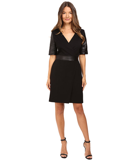 THE KOOPLES Short V-Neck Dress Leather Sleeves And Belt in Black