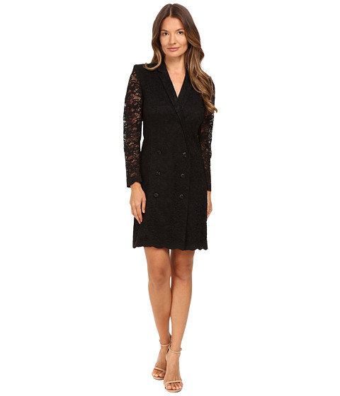 THE KOOPLES Jacket Style Wrap-Around Dress In Lace in Black
