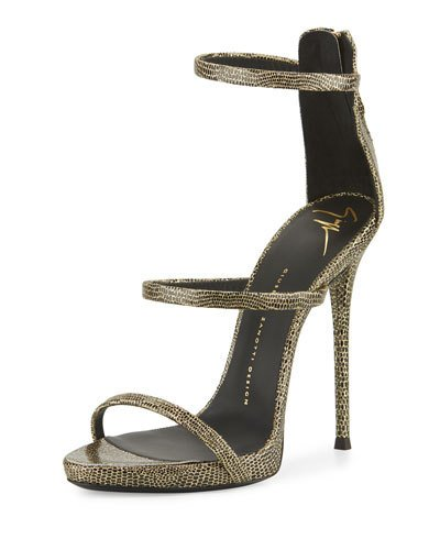 GIUSEPPE ZANOTTI Coline Embossed Triple-Strap 110Mm Sandal, Black/Gold