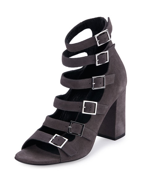 SAINT LAURENT Suede Babies Multi-Strap 90Mm Sandal, Dark Anthracite in Road Gray