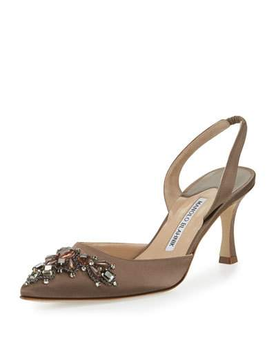 MANOLO BLAHNIK Iliaric Jeweled Satin Halter Pump, Brown