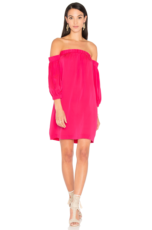 MILLY Off Shoulder Dress in Fluo Pink