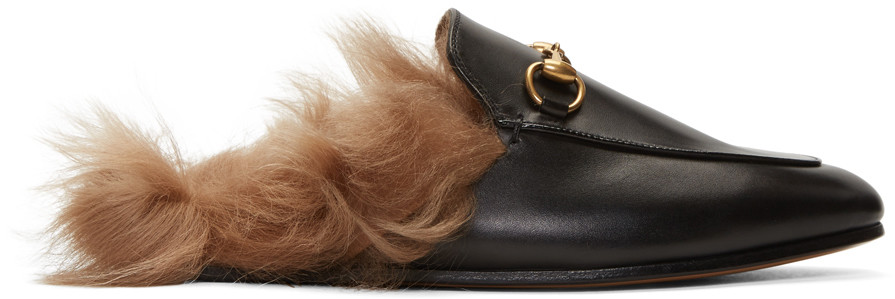 Princetown Horsebit-Detailed Shearling-Lined Leather Slippers, Black Leather