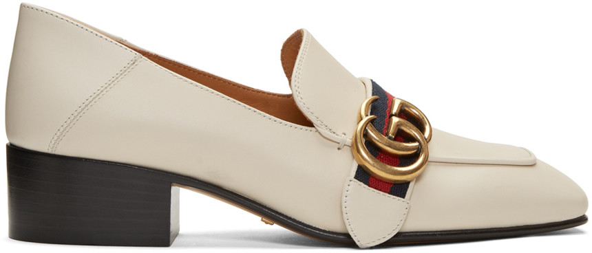 Logo-embellished Leather Collapsible-heel Pumps - Off-white Gucci tVDeFaSvU