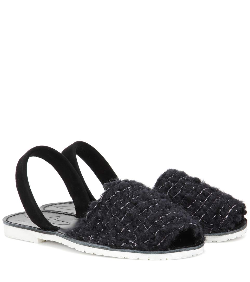DEL RIO LONDON Wool And Suede Sandals in Black