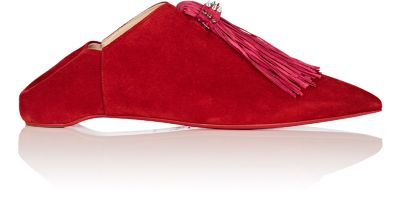 Medinana Fringed Suede Collapsible-Heel Slippers, Red/ Pink Suede