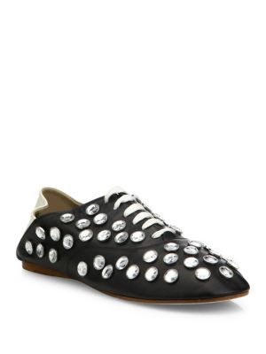 Mika Crystal-Studded Leather Babouche Mules in Llack