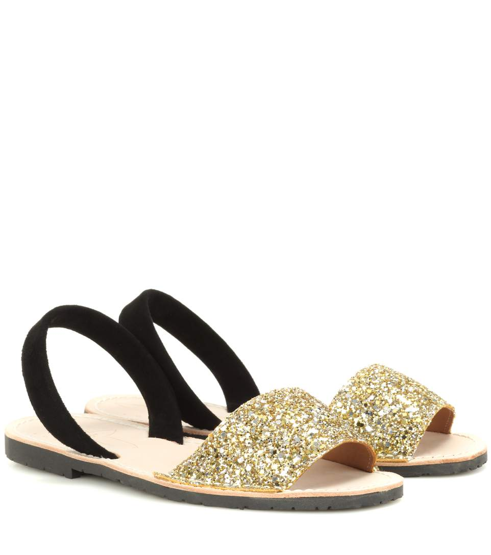 DEL RIO LONDON Glitter And Suede Sandals in Gold