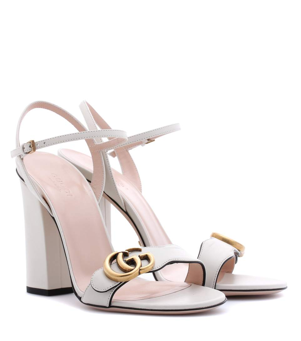 Marmont Logo-Embellished Leather Sandals in Ivory