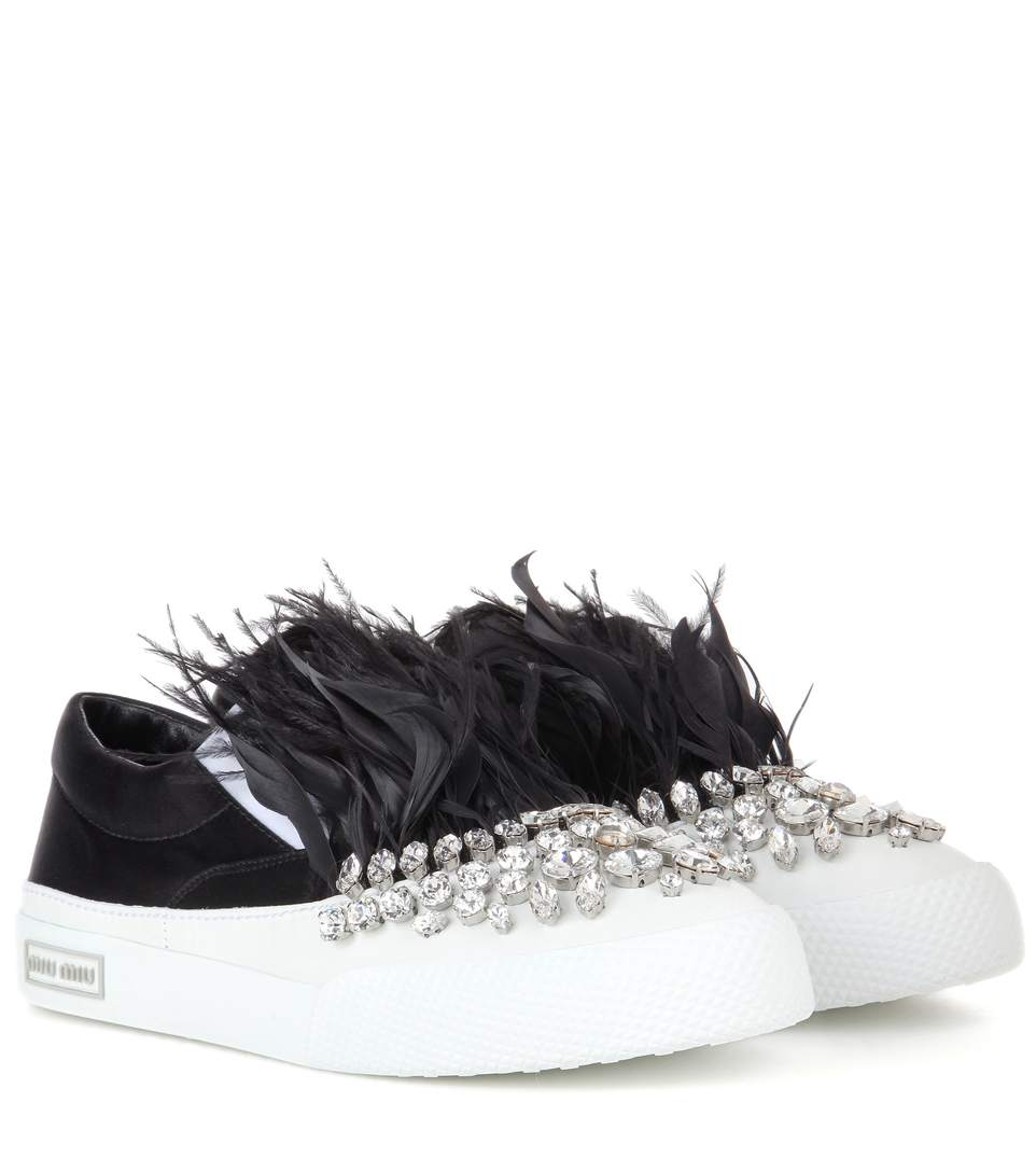 Miu Miu Crystal embellished satin slip-on sneakers clearance top quality discount footlocker finishline low shipping fee online free shipping looking for UXOBU7