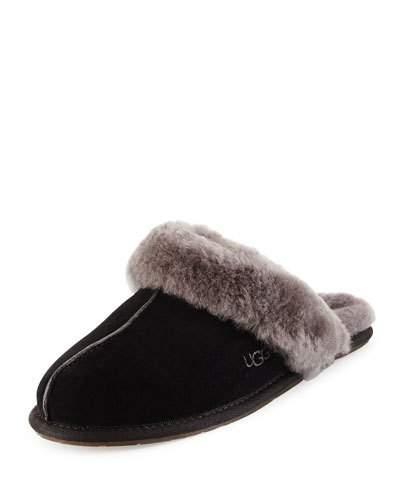 Scuffette Shearling Slide Slipper, Black/Grey