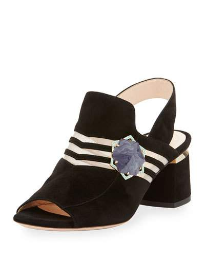 'Camille' Hexagon Stone Cutout Suede Slingback Sandals in Black