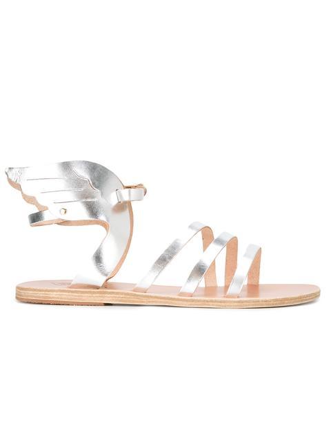 Ancient Women'S Greek Sandals in Metallic