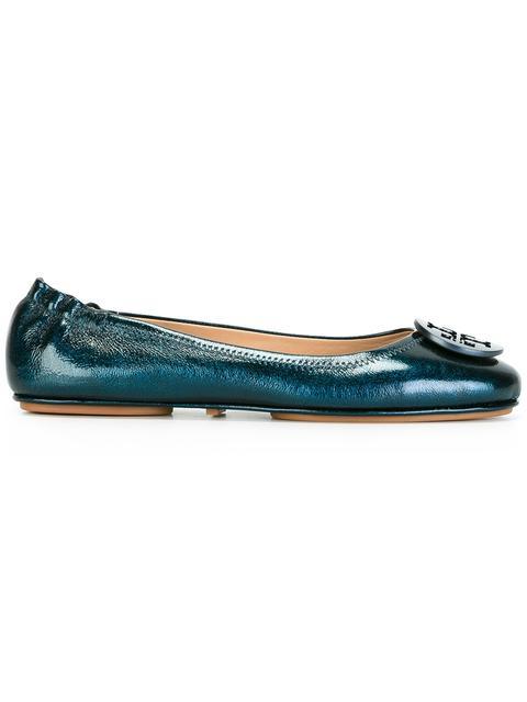TORY BURCH Minnie Travel Ballet Flat, Metallic Leather in True Navy
