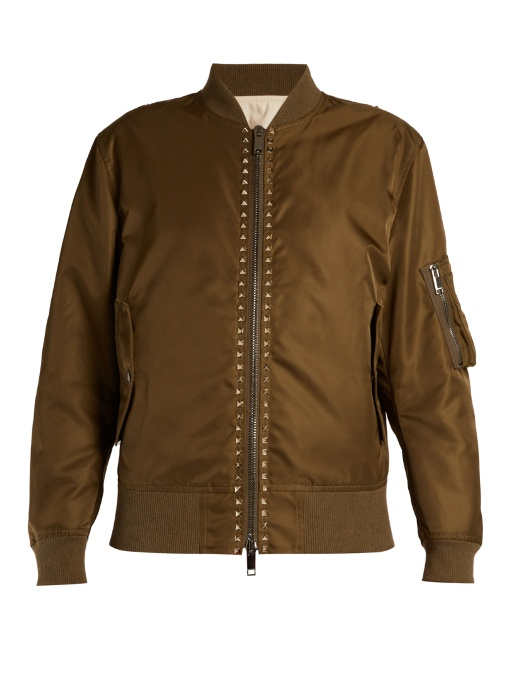 Rockstud-Embellished Shell Bomber Jacket, Army