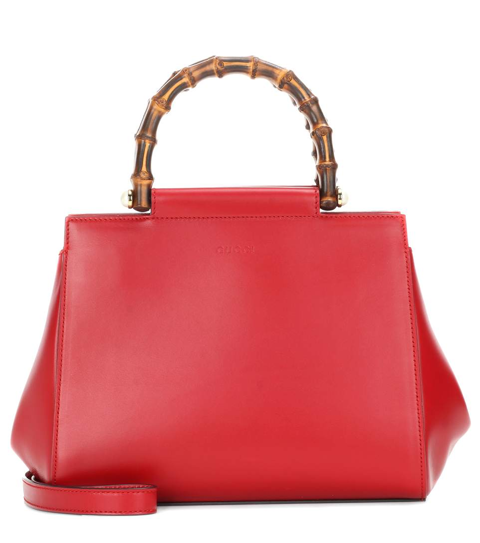 b6ab2d737a0b GUCCI NYMPHAEA LEATHER TOP HANDLE BAG, HILISCUS RED | ModeSens