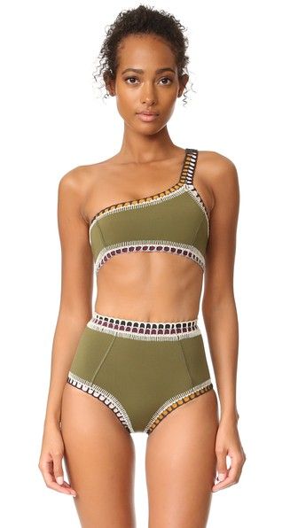 KIINI Wren One-Shoulder Crochet-Trimmed Bikini Top in Army Green
