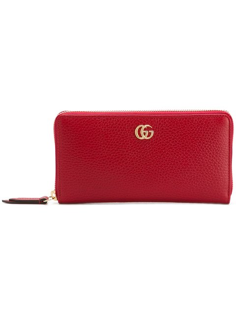 Leather Zip Around Wallet in Red