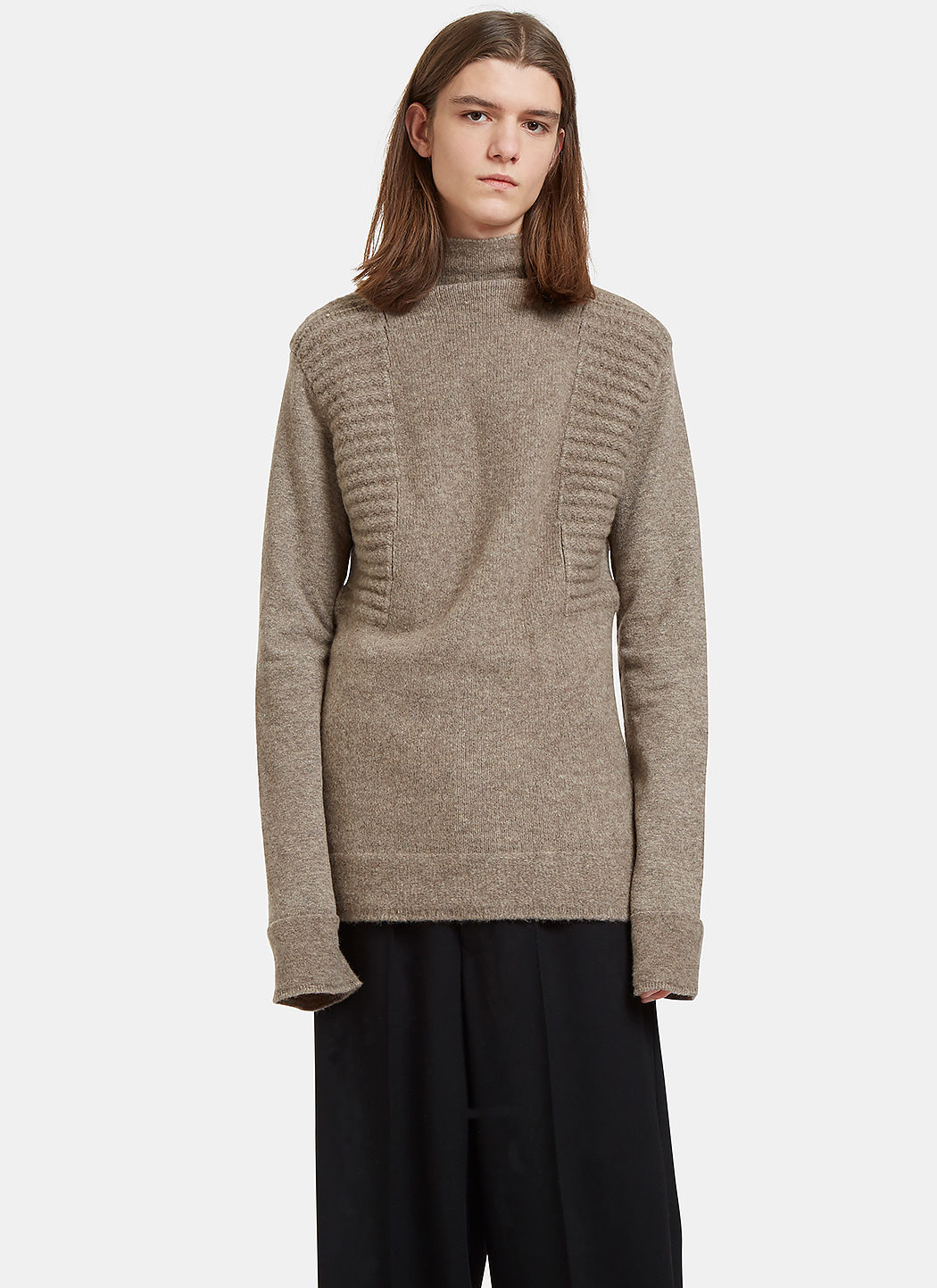 Rick Owens Mens Oversized Roll Neck Contrast Knit Sweater In Beige