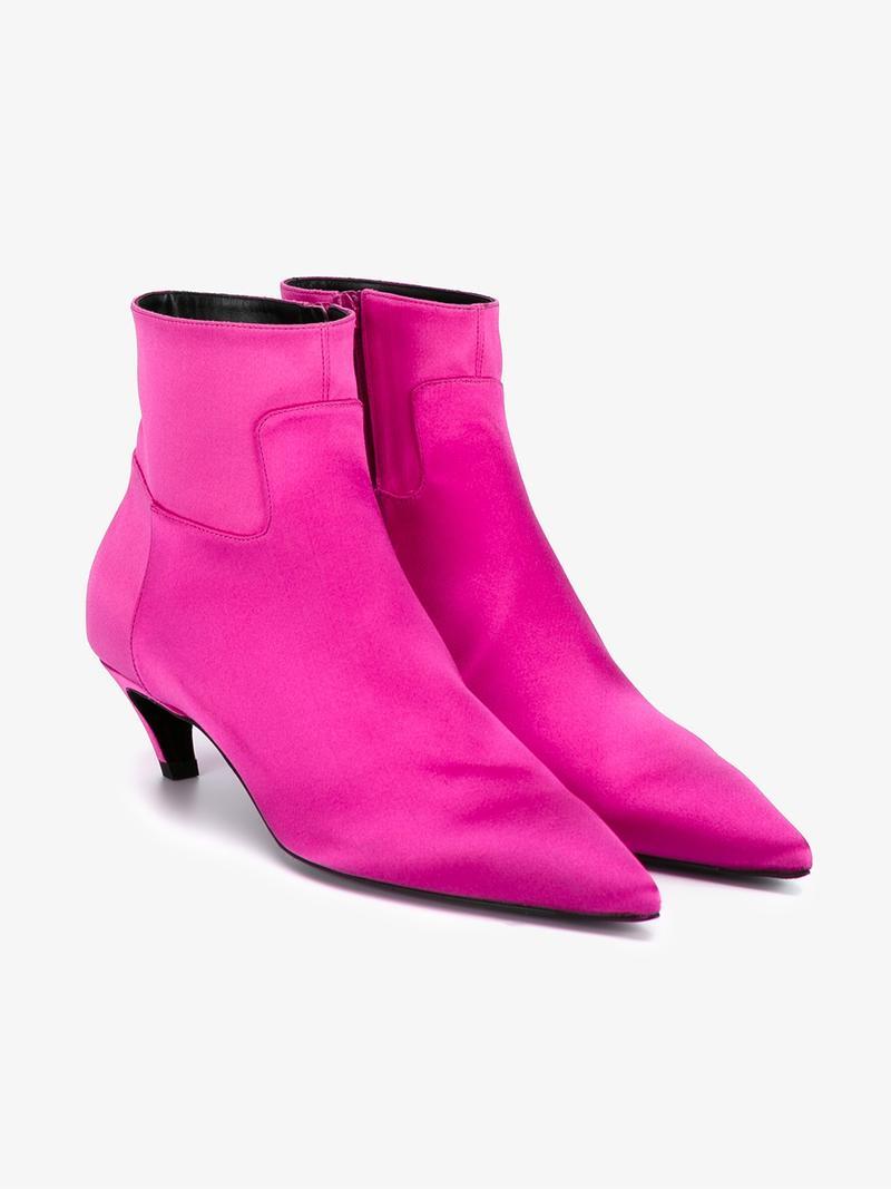 BALENCIAGA Slant-Heel Satin Ankle Boot in Colour: Fuchsia-Pink