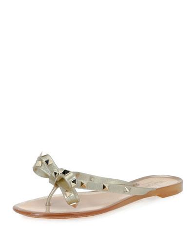 Garavani Rockstud Pvc Bow Sparkle Sandals Metallic, Gold