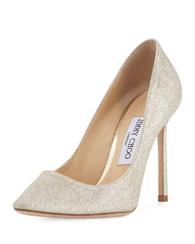 Women'S Romy 100 Glitter Leather High-Heel Pointed Toe Pumps in Platinum Ice Glitter