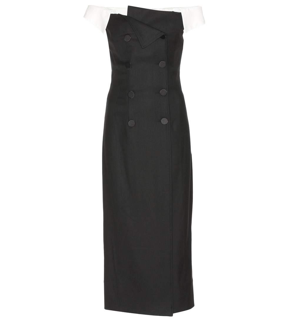 Stretch Tuxedo Off-The-Shoulder Dress, Llack