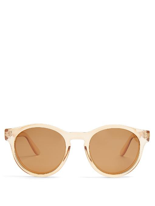 Hey Macarena Round-Frame Sunglasses, Pale-Yellow