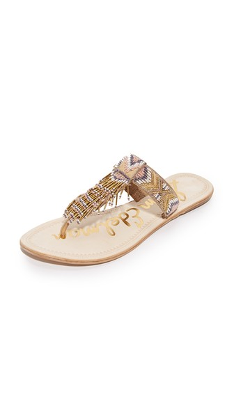 397f60edccc496 SAM EDELMAN ANELLA LEATHER BEADED FLAT THONG SANDAL