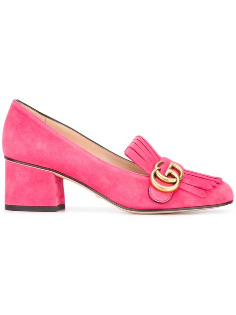 Marmont Fringed Suede Loafers in 5727 Pink