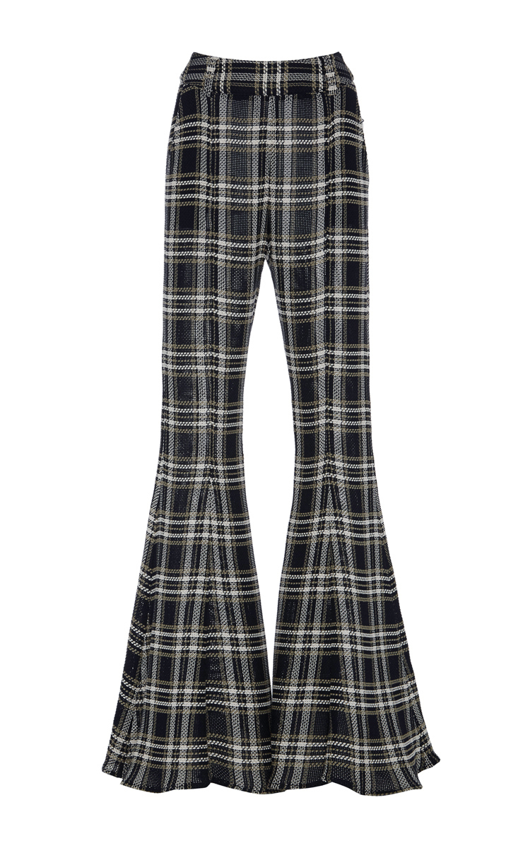 BEAUFILLE Navi Plaid Open-Knit Cotton Flared Pants in Blue