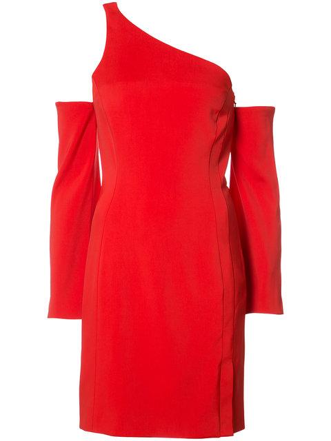 MUGLER RED ASYMMETRICAL DRESS