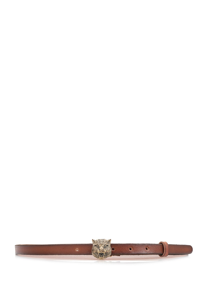 Leather Belt With Feline Buckle, Brown Leather