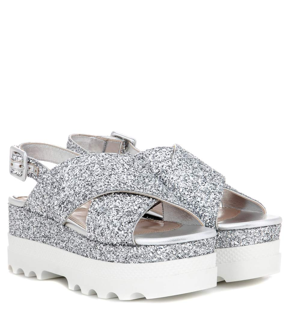 Miu Miu Glitter Slingback Sandals