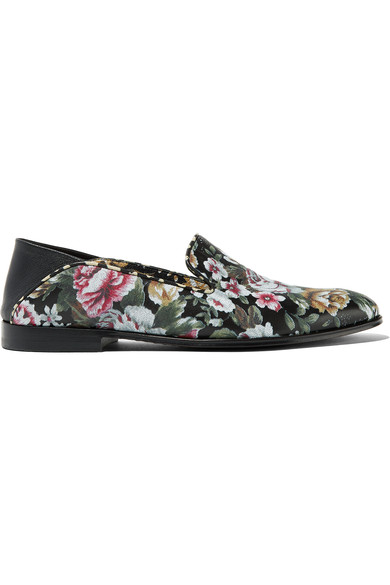 Woman Floral-Print Leather Loafers Black, Multicolor
