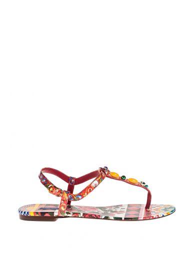 Dolce & Gabbana Printed Thong Sandals How Much Cheap Price tlrgX