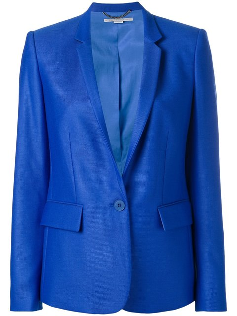 Woman Wool-Piqué Blazer Blue, Cornflower