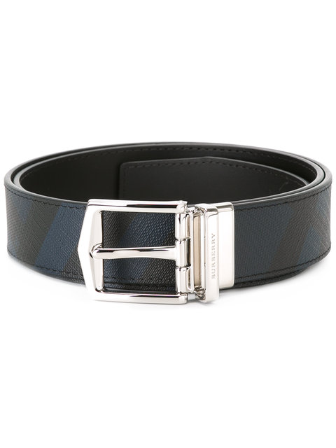 BURBERRY Joe London Check Embossed Leather Belt, Blue