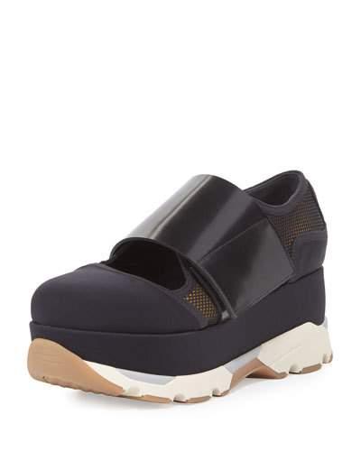 Mesh Mary Jane Platform Sneaker, Black Pattern