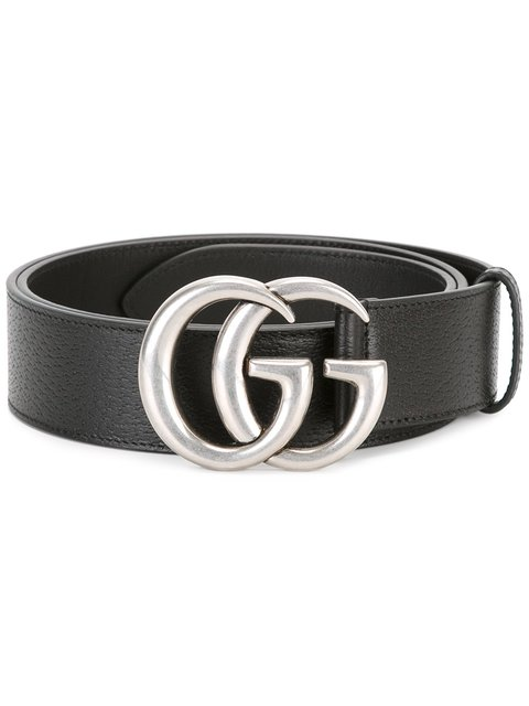 Men'S Leather Belt With Silvertone Double-G Buckle in Black
