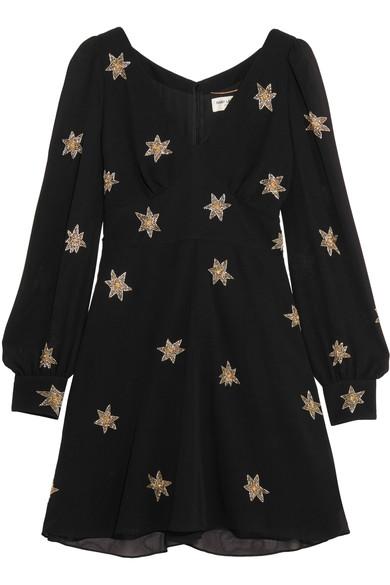 SAINT LAURENT Embellished Silk-Georgette Mini Dress in Eero