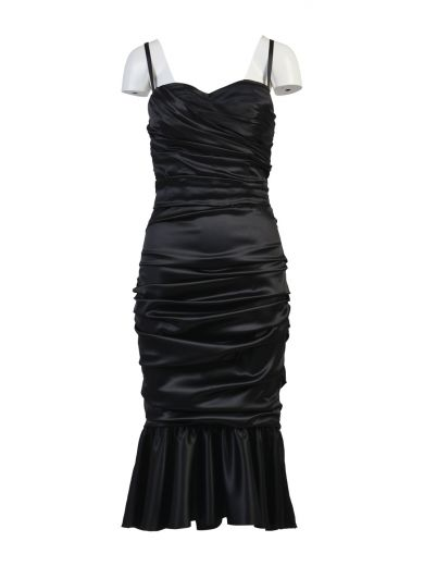 Sleeveless Stretch-Silk Dress in Black