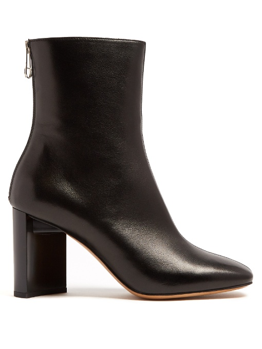 MAISON MARTIN MARGIELA Cut-Out Block-Heel Leather Ankle Boots in Black