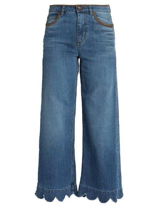 RED VALENTINO Stone-Washed Cropped Wide-Leg Jeans, Light Blue in Colour: Blue