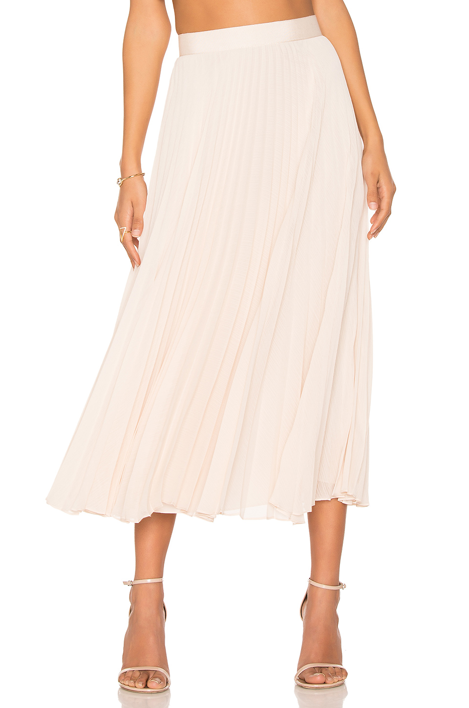 ALICE AND OLIVIA 'Essie' Pleated Crépon Midi Skirt in Champagne