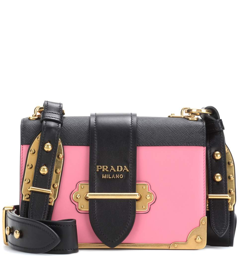 a256a92644d3 ... clearance prada cahier small two tone leather shoulder bag in pink  7f0f0 db80d