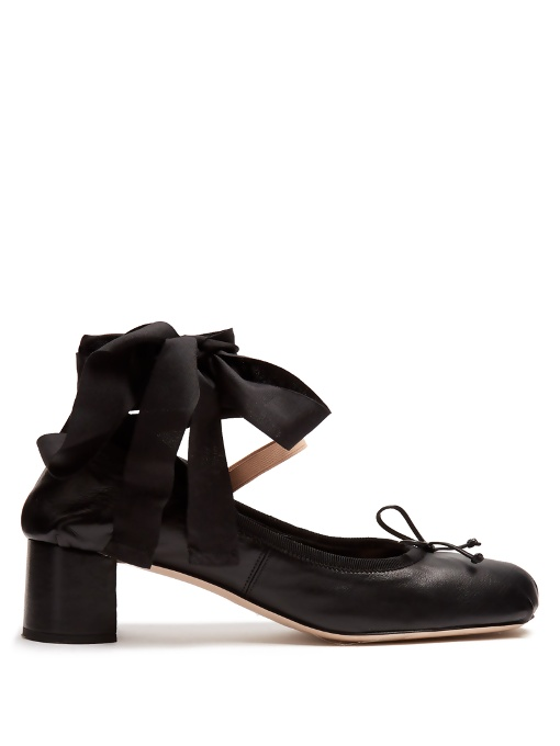 Miu Miu Leather ballerina pumps Cheap Sale Pick A Best Clean And Classic YDjE5mKJIB
