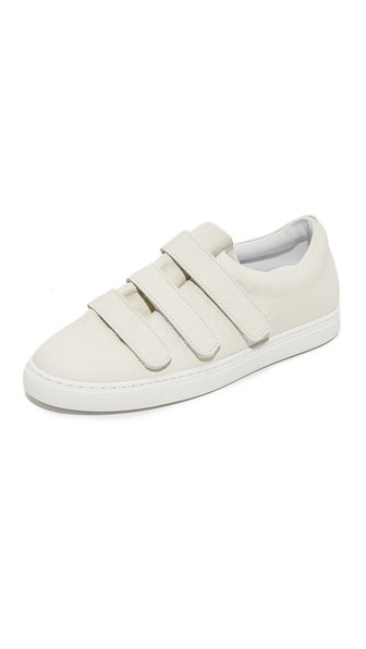 Woman Scratchy Textured-Leather Sneakers Cream in White from IRO