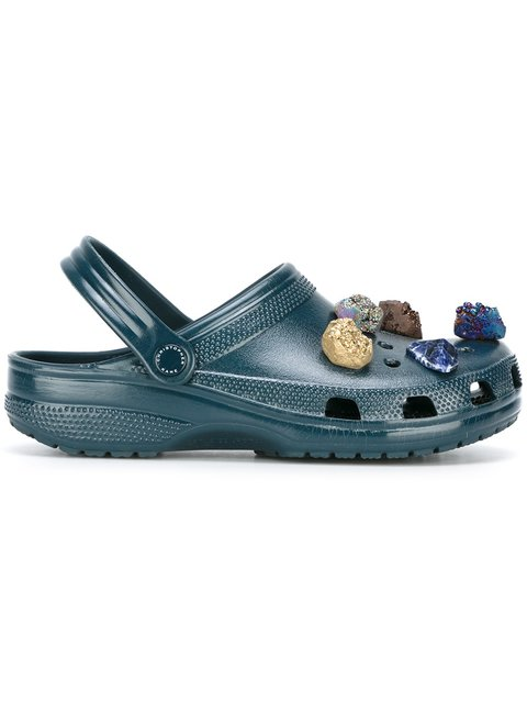 Navy Stone Embellished Crocs Clogs in Blue