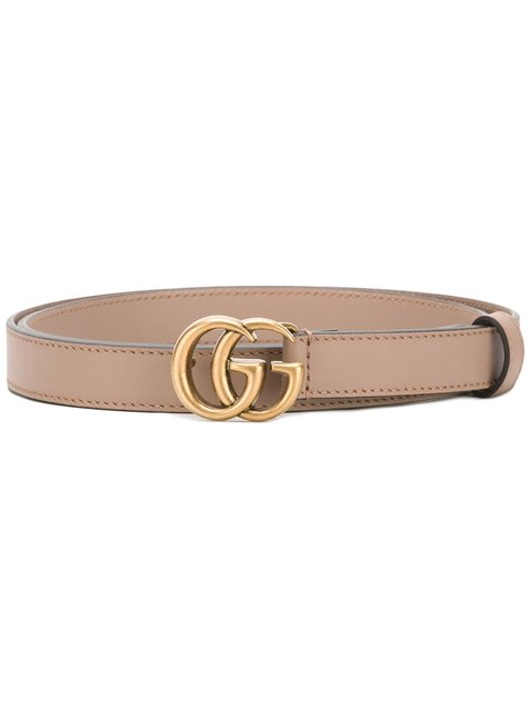 Leather Belt With Double G Buckle in Pink
